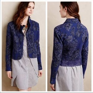 Knitted & Knotted Blue Jacket With Lace Detail